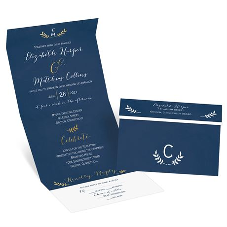 Elegant Accents - Gold - Foil Seal and Send Invitation