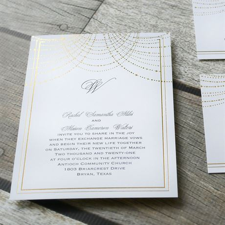 Twinkling Lights - Gold - Foil Invitation