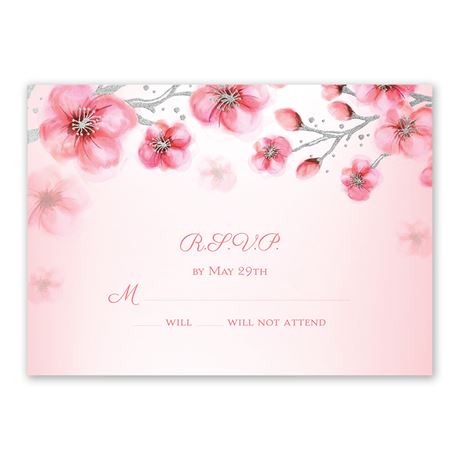 Cherry Blossoms - Silver - Foil Response Card