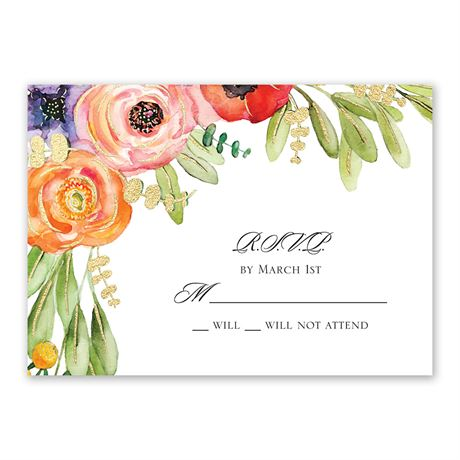 Wildflower Burst - Gold - Foil Response Card