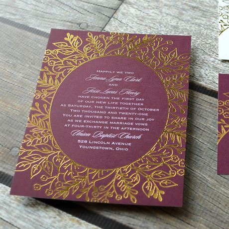 Foliage Frame - Gold - Foil Invitation