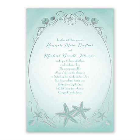 Shoreline - Silver - Foil Invitation