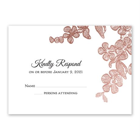 Rose Gold Blossoms Response Card