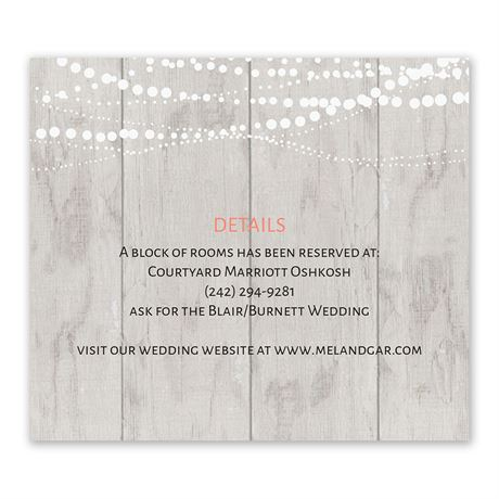 Rustic Lights - Information Card