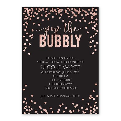 Pop the Bubbly - Rose Gold Foil - Bridal Shower Invitation