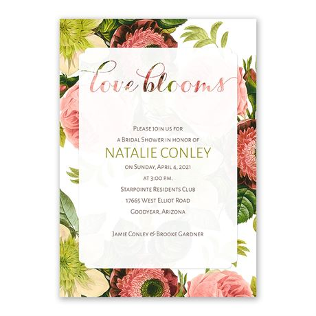 Love Blooms Bridal Shower Invitation