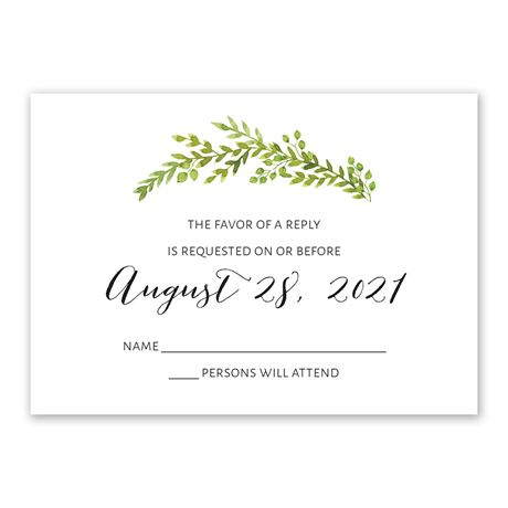 Watercolor Greenery Response Card