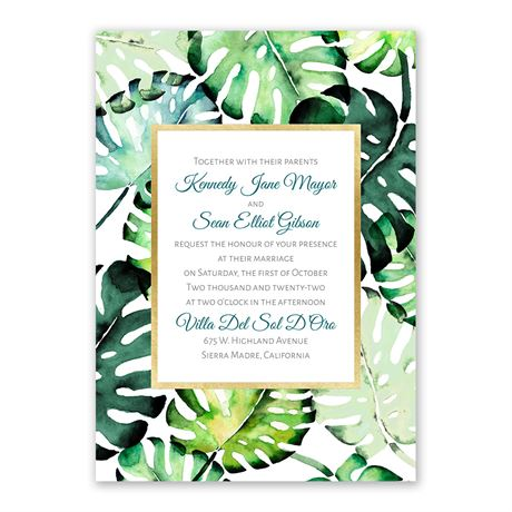 Brilliant Palms - Gold - Foil Invitation