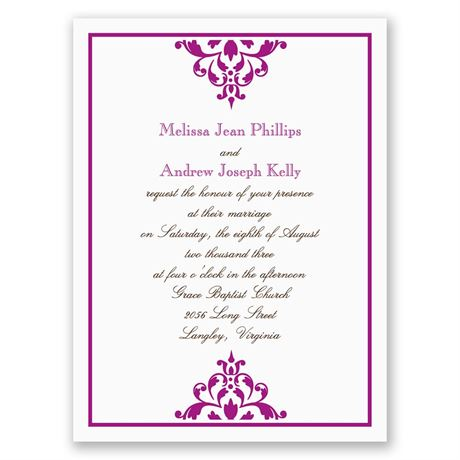 Damask Accents Petite Invitation