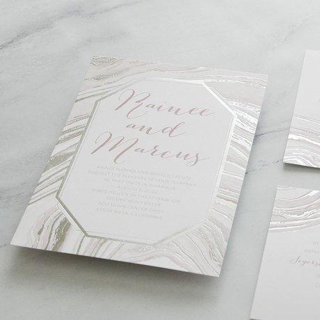 Modern Marble - Silver -  Foil Invitation