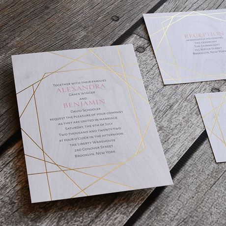 Naturally Modern - Gold - Foil Invitation