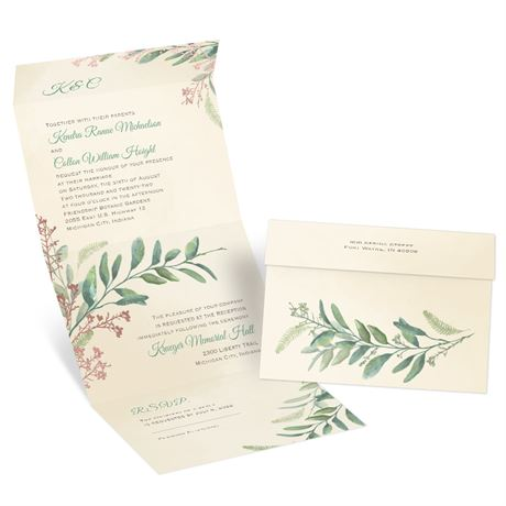 Natural Whimsy - Rose Gold - Foil Seal and Send Invitation