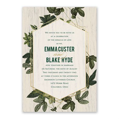 Climbing Vines - Gold - Foil Invitation
