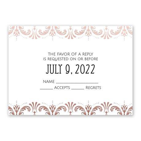 Glam Regency Rose Gold Foil Response Card