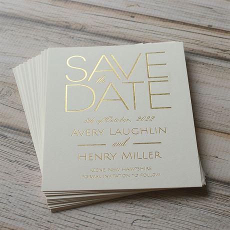 Shining Date - Ecru - Foil Save the Date Card