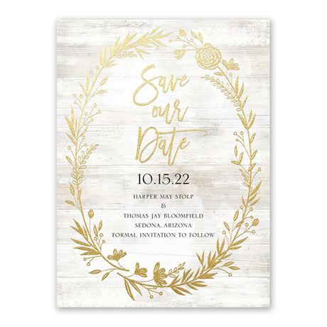 Farmhouse Frame - Gold - Foil Save the Date Card