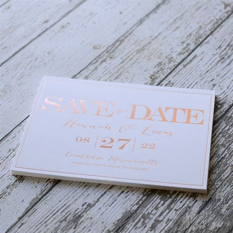 Our Love - White - Foil Save the Date Card