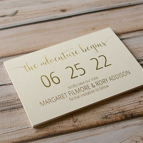 Adventure Begins - Ecru - Foil Save the Date Card