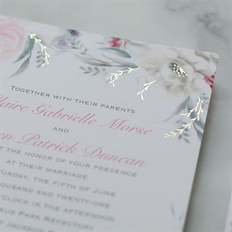 Pale Roses - Gold - Foil Invitation