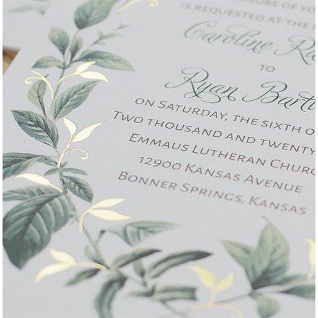Vintage Botanical - Gold - Foil Invitation