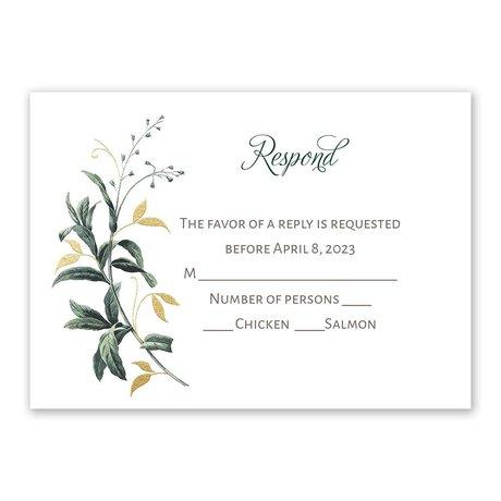 Vintage Botanical - Gold - Foil Response Card