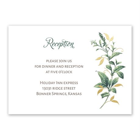 Vintage Botanical - Gold - Foil Reception Card