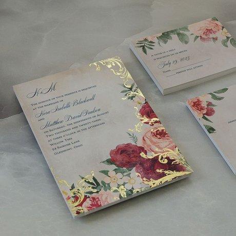 Floral Flourish - Gold - Foil Invitation