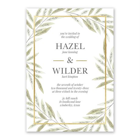Ruscus Frame - Gold - Foil Invitation