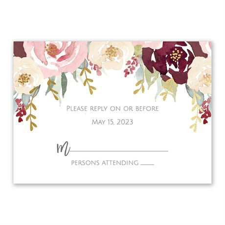 Blooms in Burgundy - Gold - Foil Response Card