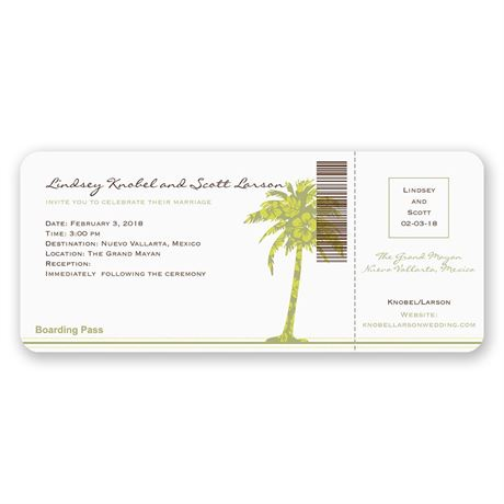 Palm Tree Boarding Pass to Romance Invitation