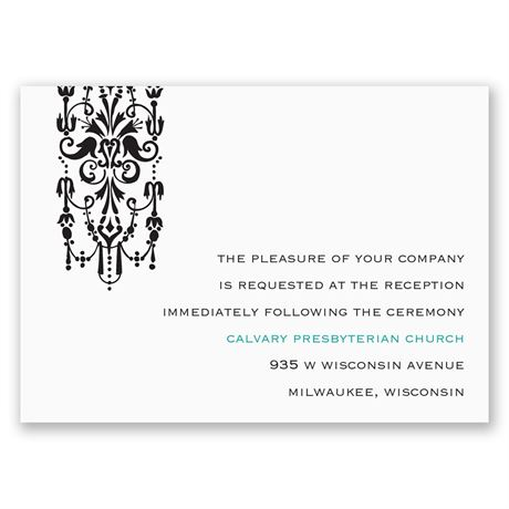 Ornate Monogram Reception Card