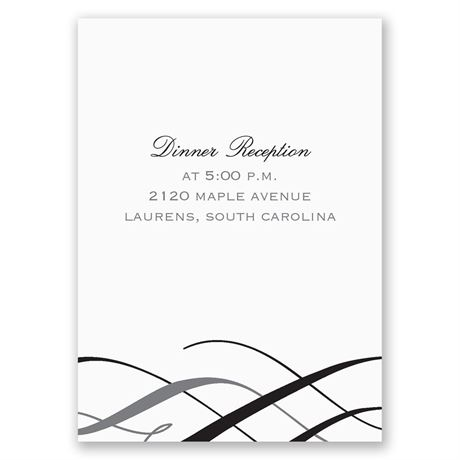 Stylish Swirls Reception Card