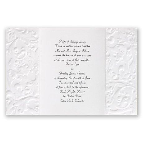 White Vintage with Ribbon -  Hydrangea - Invitation