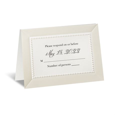 All Buttoned Up Ecru Response Card and Envelope