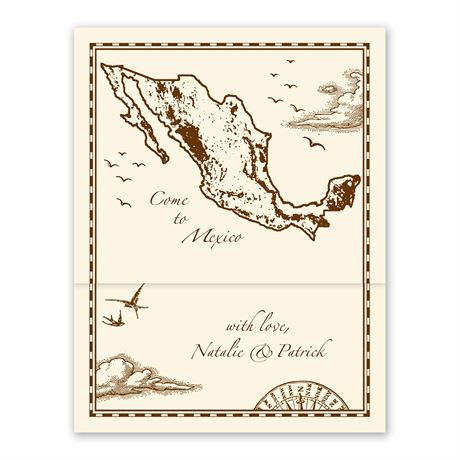 Mexico Treasure Map Ecru Zfold Inv