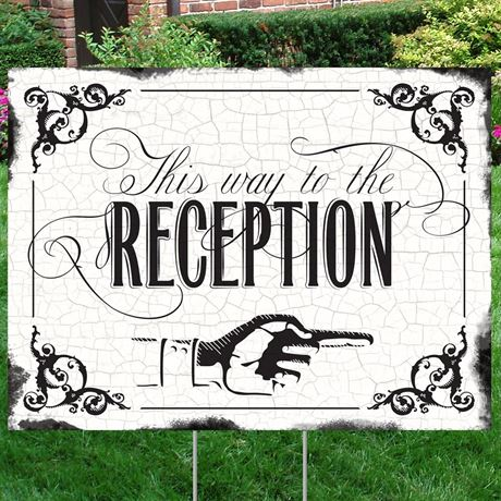 Black Reception Direction Yard Sign