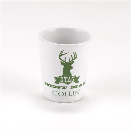 White Ceramic Stag Best Man Shot Glass
