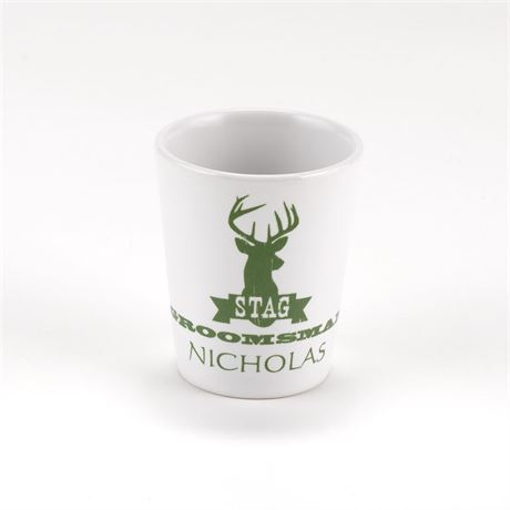 White Ceramic Stag Groomsman Shot Glass