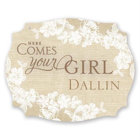 "Burlap and Lace ""Here Comes the Bride"" Sign"