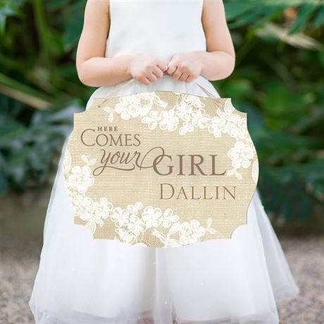 Burlap and Lace Here Comes the Bride Sign