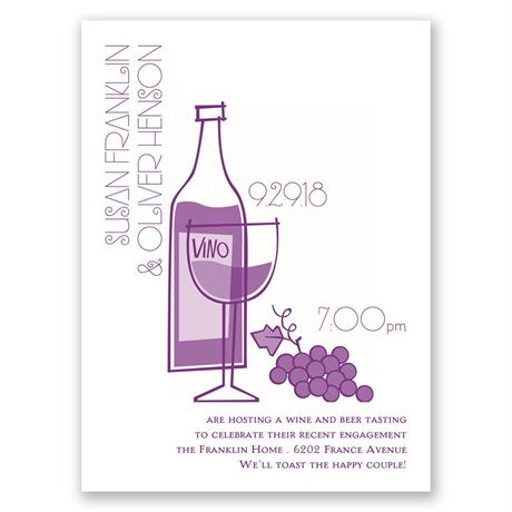 Wine and Dine Petite Engagement Party Invitation