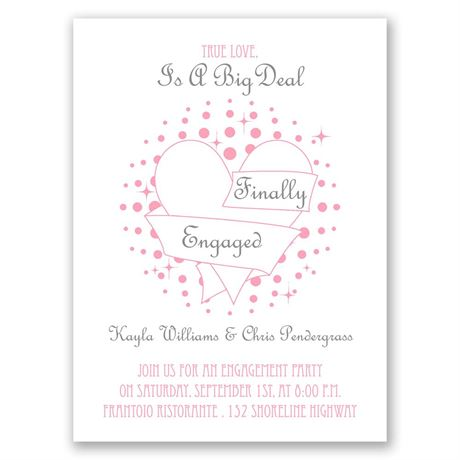 Heart and Stars Petite Engagement Party Invitation