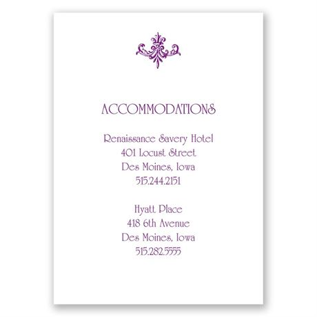 Fine Filigree - Accommodations Card