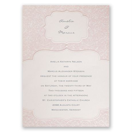 Faded Pink Filigree Invitation