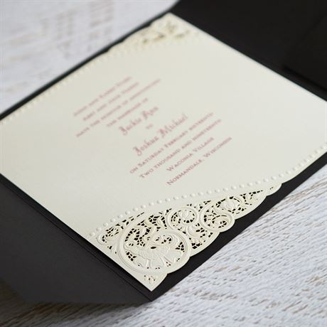Pearls and Lace - Black Pocket - Laser Cut Invitation