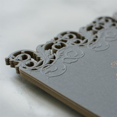 Rolling Vines - Foil and Laser Cut Invitation
