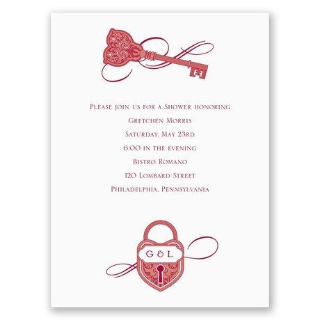 Lock and Key Petite Bridal Shower Invitation