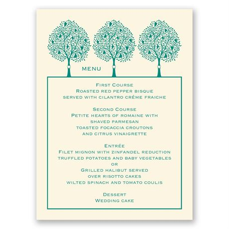 Tree of Love - Ecru - Menu Card