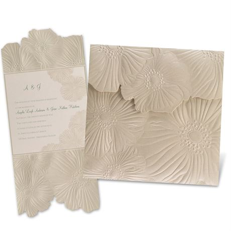 Romance Blooms Laser Cut Invitation