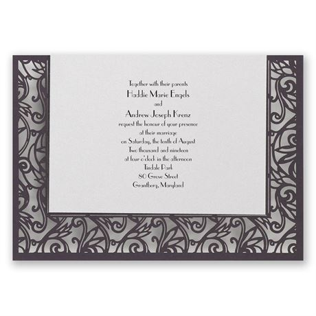 Total Intrigue - Eggplant -Laser Cut Invitation